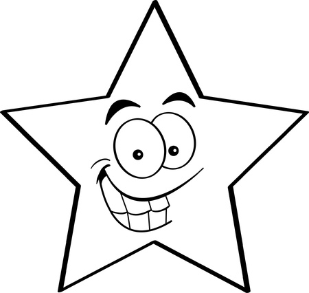 star cartoon: Black and white illustration of a smiling star  Illustration
