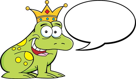 the frog prince: Cartoon illustration of a frog wearing a crown with a caption balloon