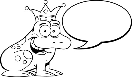 Black and white illustration of a frog wearing a crown with a caption balloon  Vector