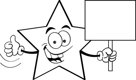 star cartoon: Black and white illustration of a star holding a sign