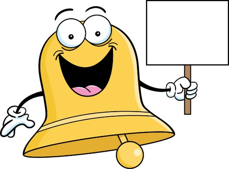 Cartoon illustration of a bell holding a sign