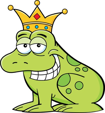 Cartoon illustration of a frog wearing a crown