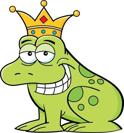 Cartoon illustratie van een kikker met een kroon