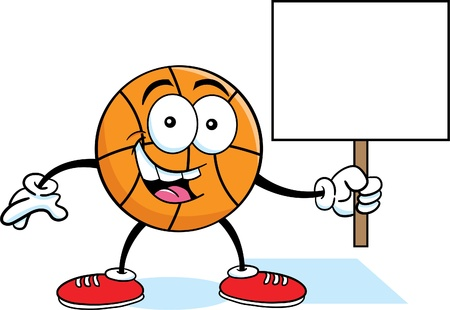 with humor: Cartoon illustration of a basketball holding a sign