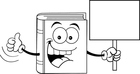 Black and white illustration of a book holding a sign  Ilustracja