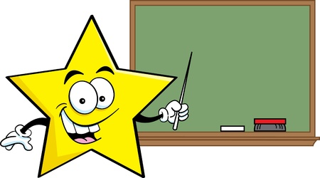 Cartoon illustration of a star pointing to a blackboard