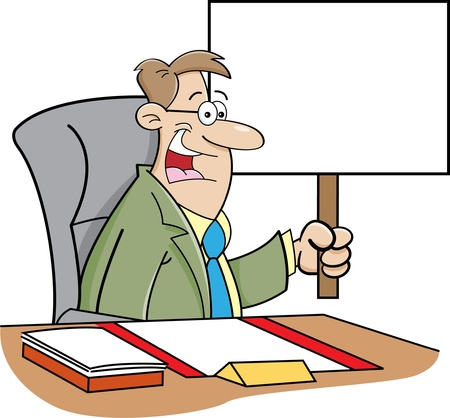 Cartoon illustration of a man sitting at a desk and holding a sign