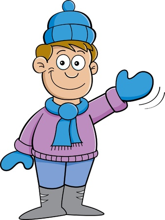 Cartoon illustration of a boy in Winter clothes waving  Illusztráció