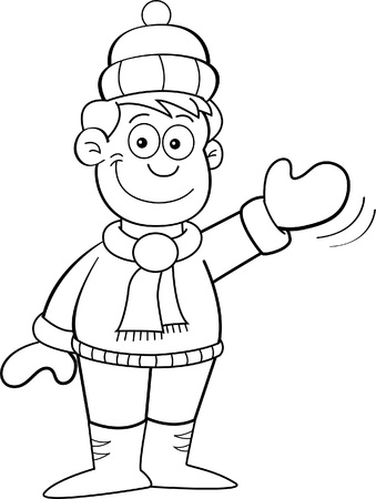 Black and white illustration of a boy in Winter clothes waving
