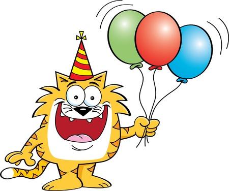 balloon animals: Cartoon illustration of a cat holding balloons  Illustration