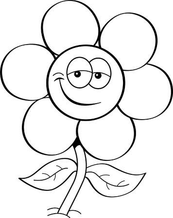 Black and white illustration of a flower