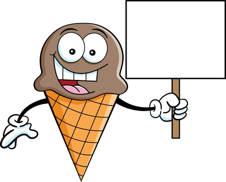 Cartoon illustration of an ice cream cone holding a sign
