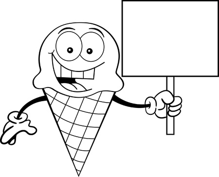 Black and white illustration of an ice cream cone holding a sign