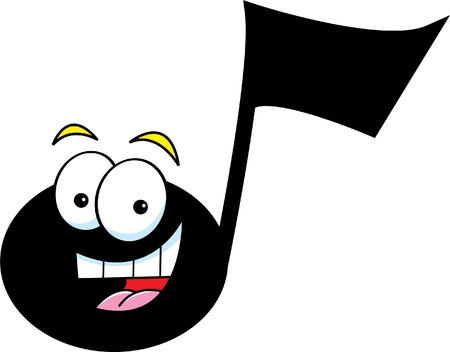 Cartoon illustration of a musical note  Vector