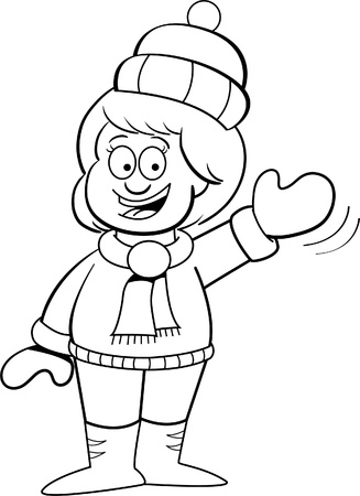 stocking cap: Black and white illustration of a girl in Winter clothes waving