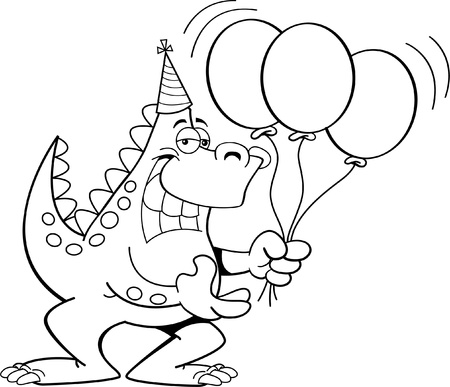 Black and white illustration of a dinosaur holding balloons  Vector