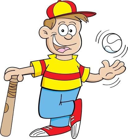 Cartoon illustration of a boy with a baseball and baseball bat Stock Vector - 16946593