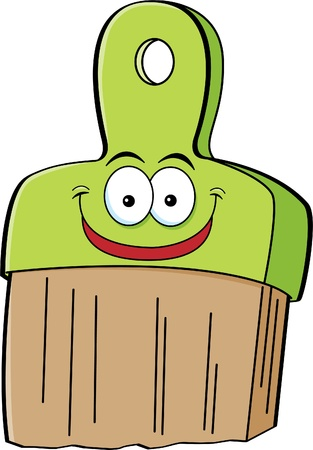 Cartoon illustration of a smiling paint brush