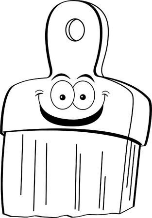 Black and white illustration of a smiling paint brush  Ilustração