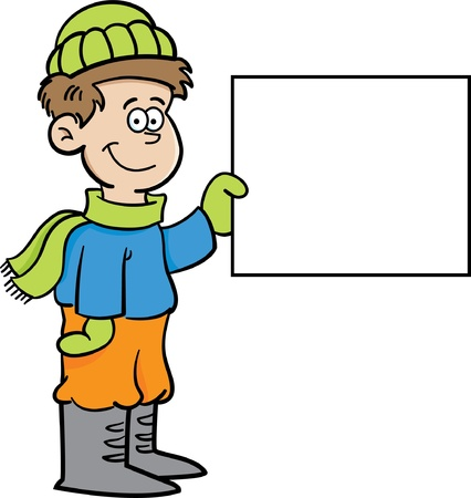 Cartoon illustration of a boy in Winter clothing holding a sign