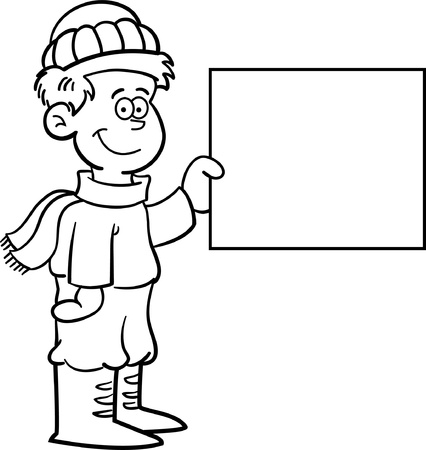 Black and white illustration of a boy in Winter clothing holding a sign