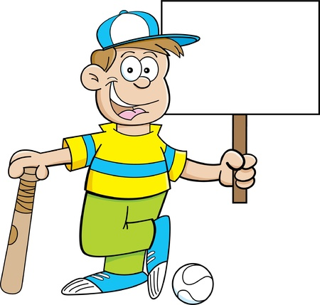 baseball cap: Cartoon illustration of a boy wearing a baseball cap and holding a baseball bat and a sign