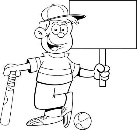 smirking: Black and white illustration of a boy wearing a baseball cap and holding a baseball bat and a sign