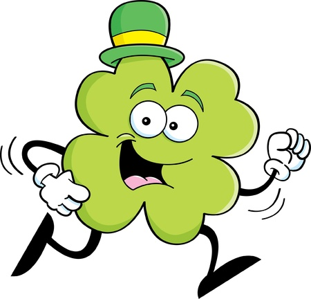 derby hats: Cartoon illustration of a shamrock wearing a hat