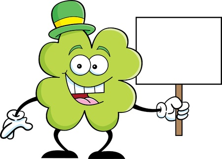 Cartoon illustration of a shamrock holding a sign  Vector