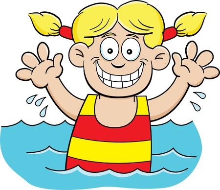 Cartoon illustration of a girl swimming