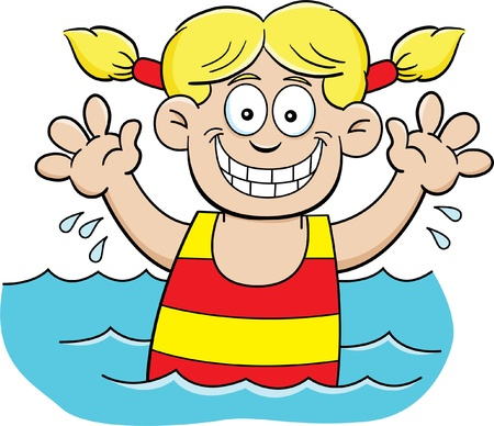 kids playing water: Cartoon illustration of a girl swimming