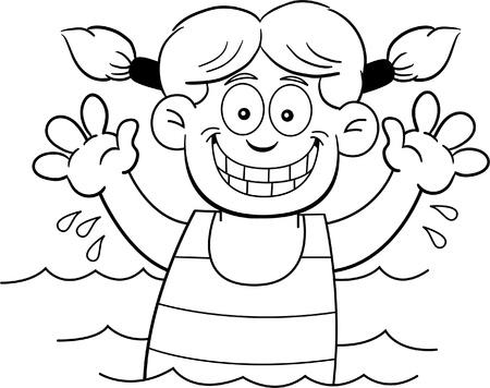 wet girl: Black and white illustration of a girl swimming