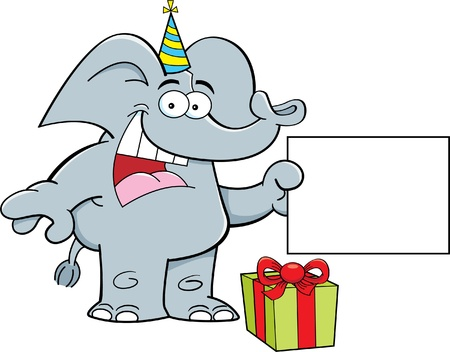 Cartoon illustration of an elephant wearing a party hat and holding a sign  Stock Vector - 17224597