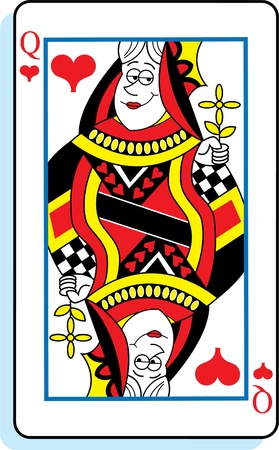 Cartoon illustration of a queen of hearts playing card  Stock Vector - 17224598
