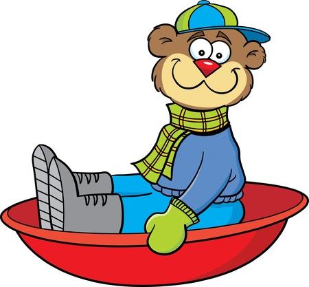 Cartoon illustration of a bear sledding