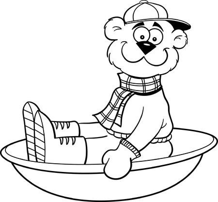 sledding: Black and white illustration of a bear sledding
