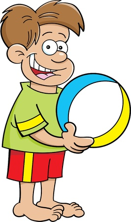 Cartoon illustration of a boy holding a beach ball  Illusztráció