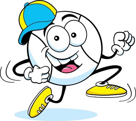 humourous: Cartoon illustration of a running baseball