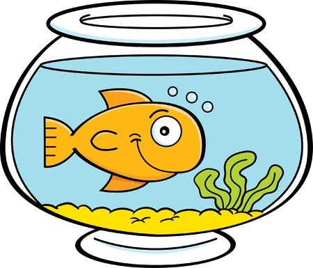 물고기 그릇에 물고기의 만화 그림 일러스트