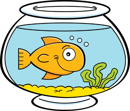 Cartoon illustration of a fish in a fish bowl