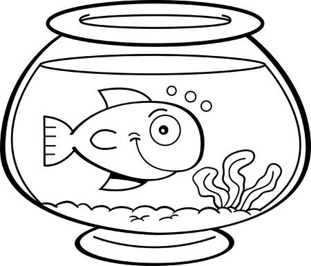 물고기 그릇에 물고기의 흑백 그림