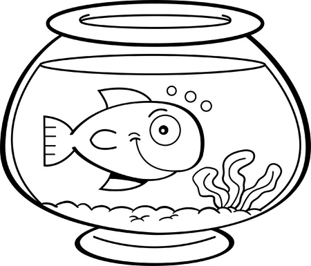 Black and white illustration of a fish in a fish bowl