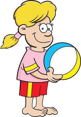 Cartoon illustration of a girl holding a beach ball. Stock Vector - 17333564