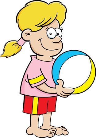 Cartoon illustration of a girl holding a beach ball. Vector