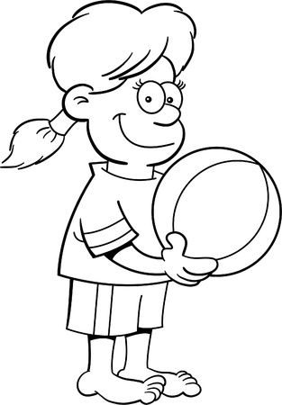 Black and white illustration of a girl holding a beach ball. Vector