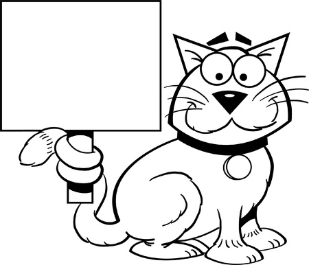 funny cat: Black and white illustration of a cat holding a sign  Illustration