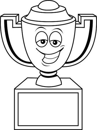 Black and white illustration of a smiling trophy cup  Ilustrace
