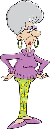 w�tend: Cartoon Illustration von einem w�tenden �ltere Dame Illustration