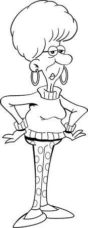 Schwarz-Weiß-Darstellung eines zornigen alten Dame