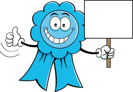 Cartoon illustration of an award ribbon holding a sign